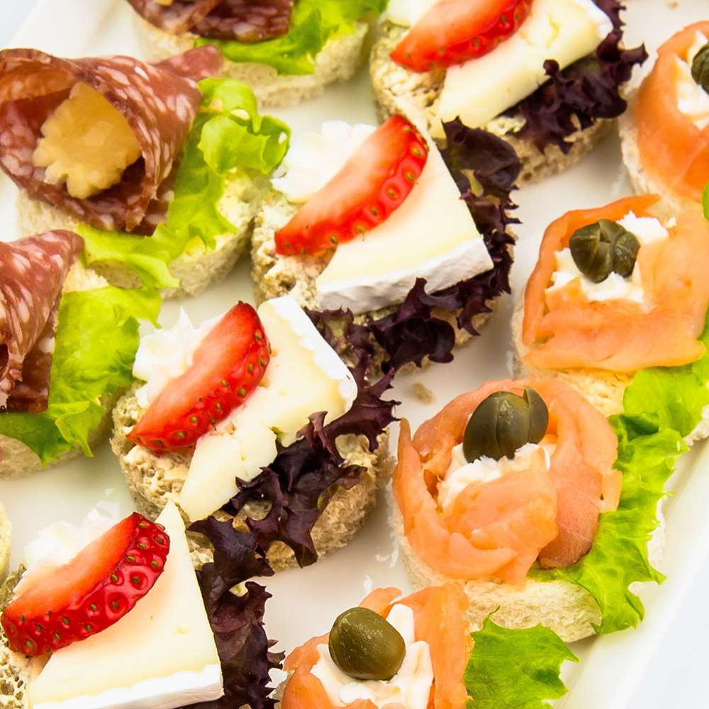 Canapes and finger food variety platter with smoked for Canape menu prices