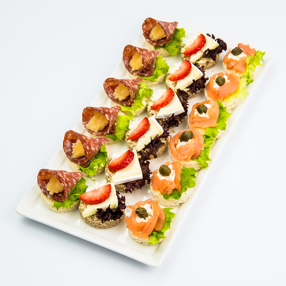 Canapes and finger food variety platter with smoked for Canape platters